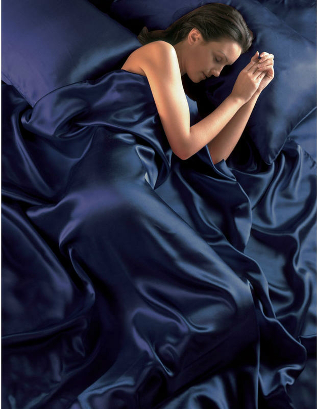Navy Blue Satin Double Duvet Cover, Fitted Sheet and 4 Pillowcases