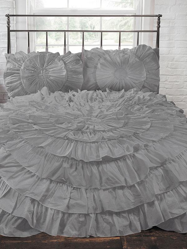 Naya Ruffle Silver Double Duvet Cover and Pillowcase Set