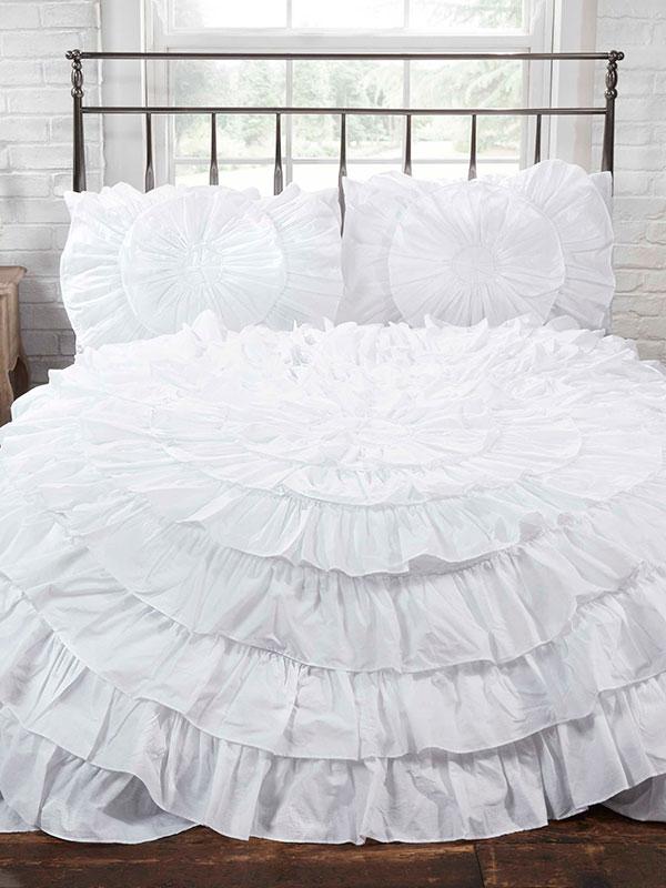 Naya Ruffle White Single Duvet Cover and Pillowcase Set