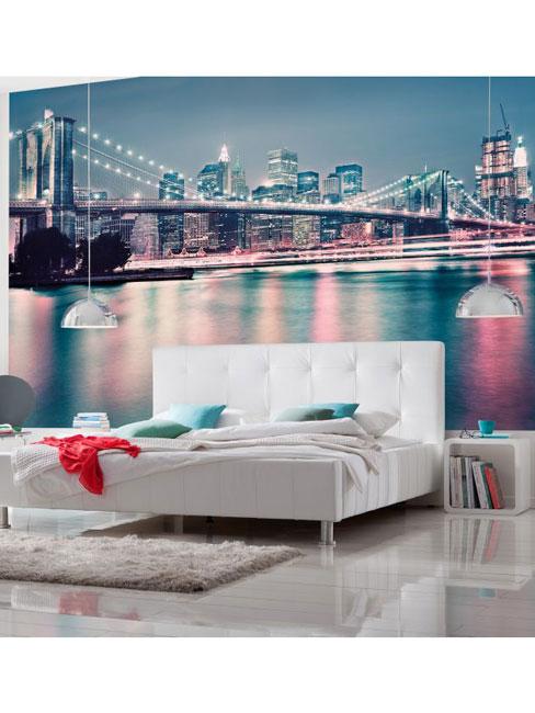 New York Brooklyn Bridge Neon Photo Wall Mural 368 x 254 cm