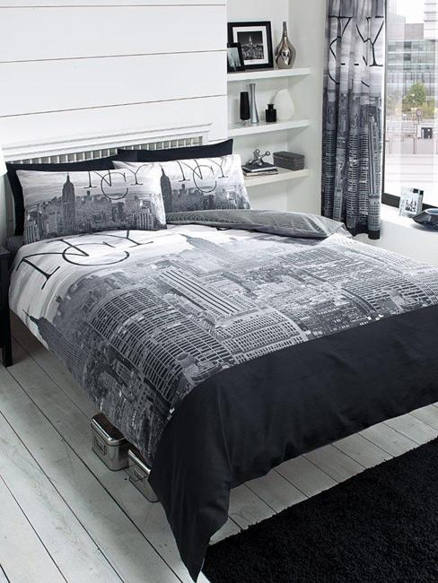 New York City Black Double Duvet Cover and Pillowcase Set