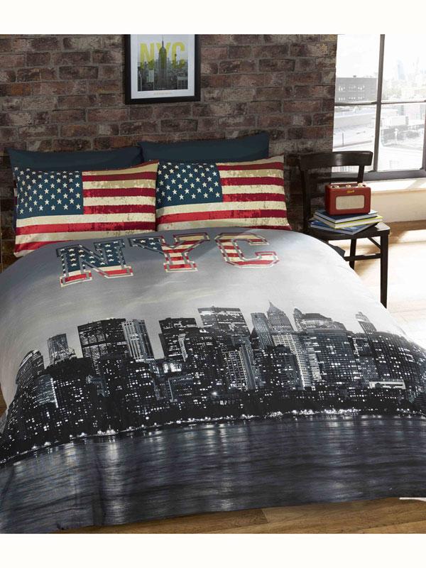 New York Skyline Double Duvet Cover & Pillowcase Set