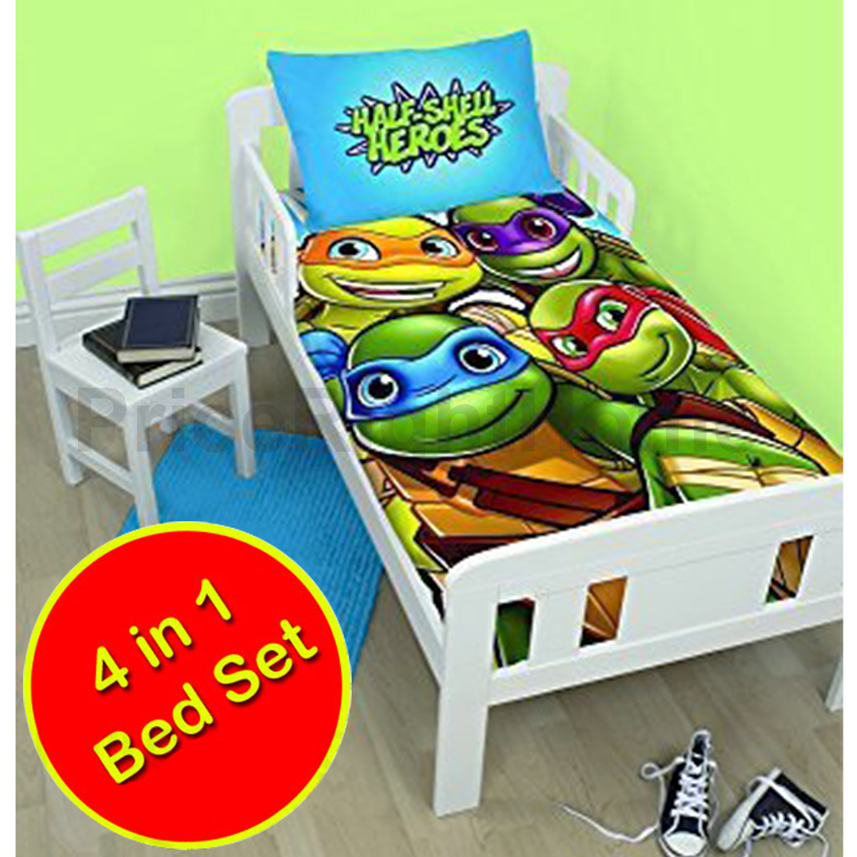 teenage mutant ninja turtles 4 in 1 junior bedding bundle set (duvet,