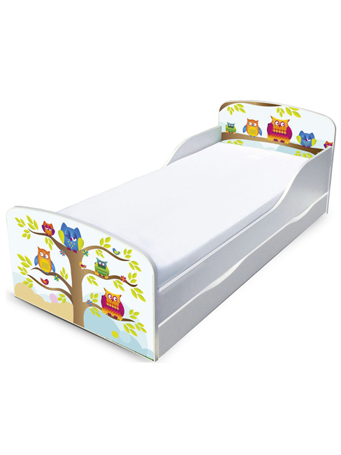 PriceRightHome Owls Toddler Bed with Underbed Storage and Fully Sprung