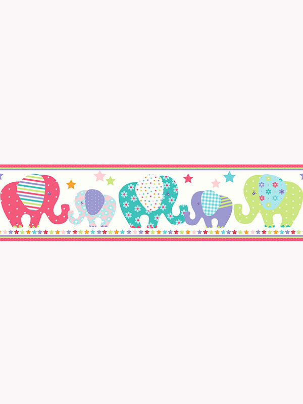 Price Right Home Patchwork Elephant Wallpaper Border A13001