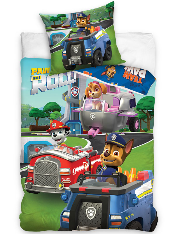 Paw Patrol On A Roll Single Cotton Duvet Cover Set