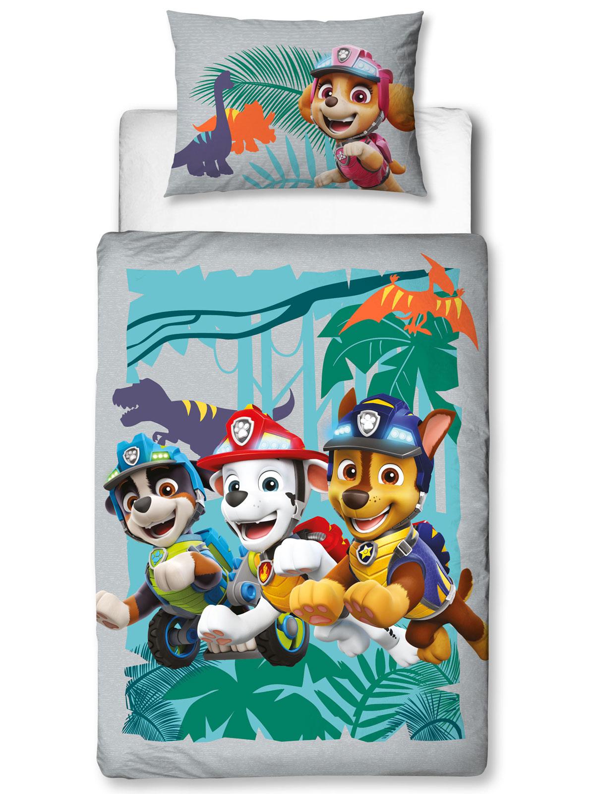 Paw Patrol Dino 4 in 1 Junior Bedding Bundle Set (Duvet, Pillow and