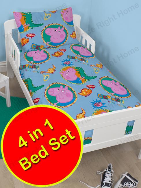 peppa pig george roar 4 in 1 junior bedding bundle set (duvet, pillow