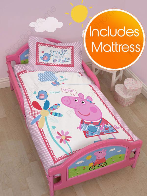 peppa pig tulip junior toddler bed plus deluxe foam mattress