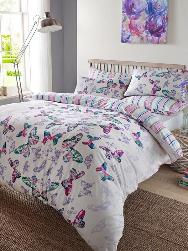 watercolour butterfly double duvet cover and pillowcase set