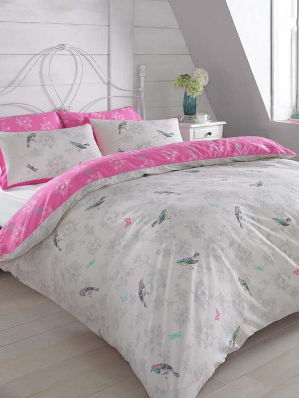 vintage birds pink single duvet cover and pillowcase set