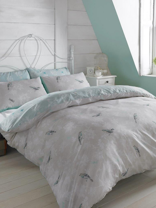 vintage birds mint single duvet cover and pillowcase set