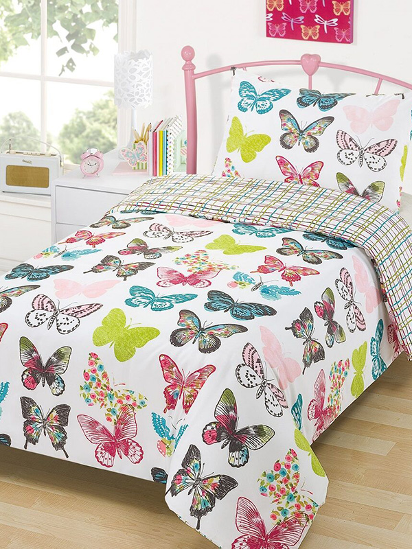 layla butterfly single duvet cover and pillowcase set