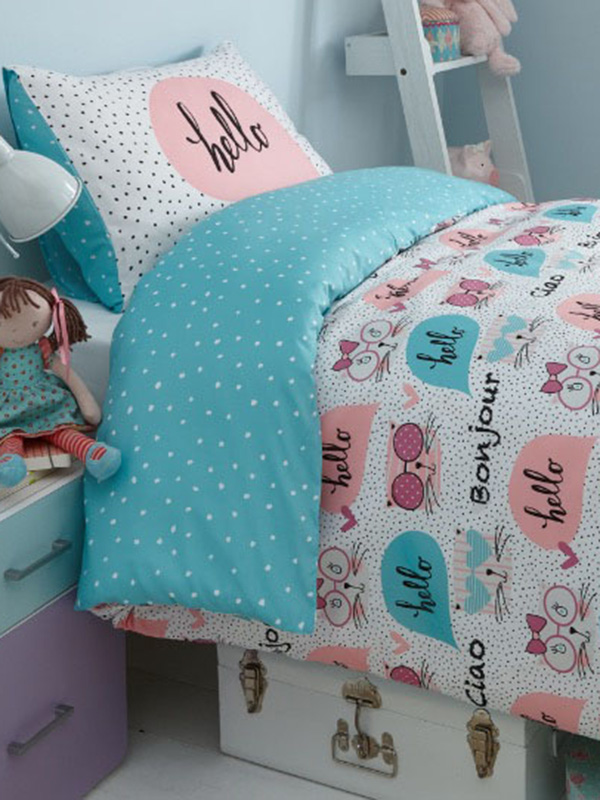 kitty polka dot single duvet cover and pillowcase set