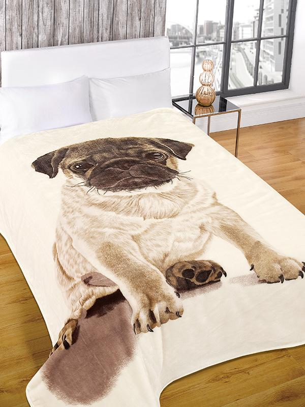 luxury faux fur pug design throw blanket 150cm x 200cm