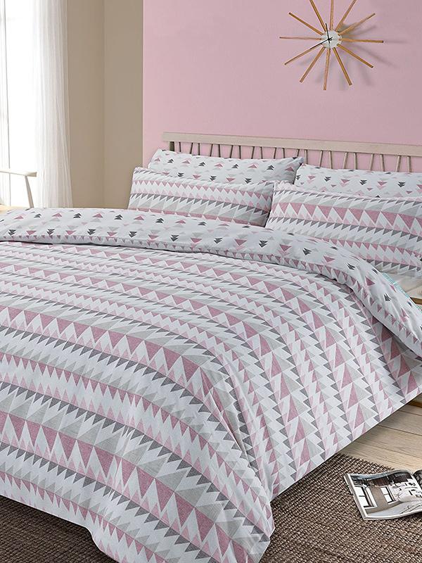 rewind geometric single duvet cover and pillowcase set  blush