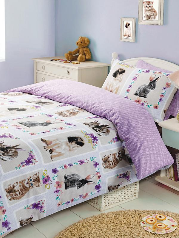 pet love single duvet cover and pillowcase set  multi