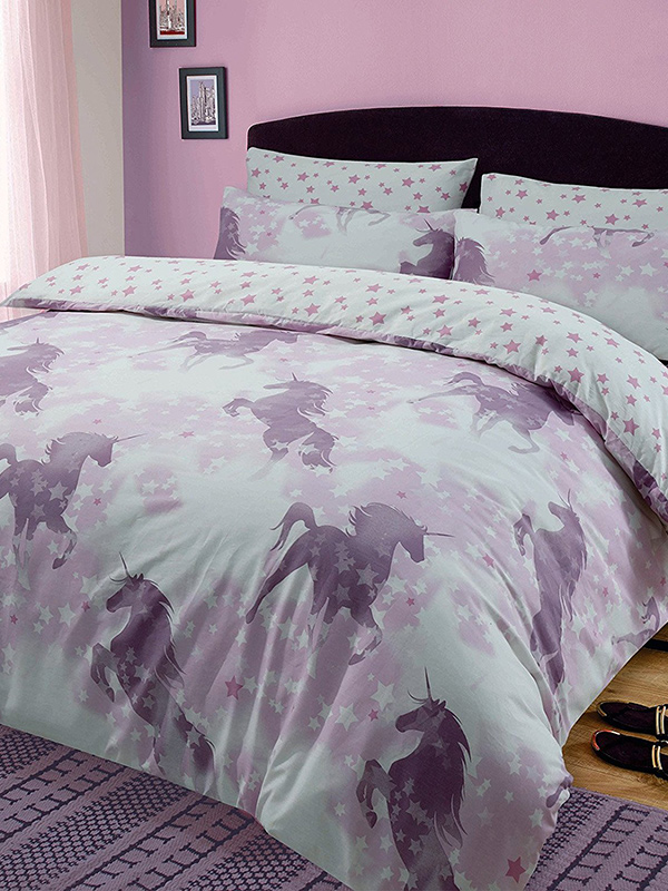unicorn dreams single duvet cover and pillowcase set