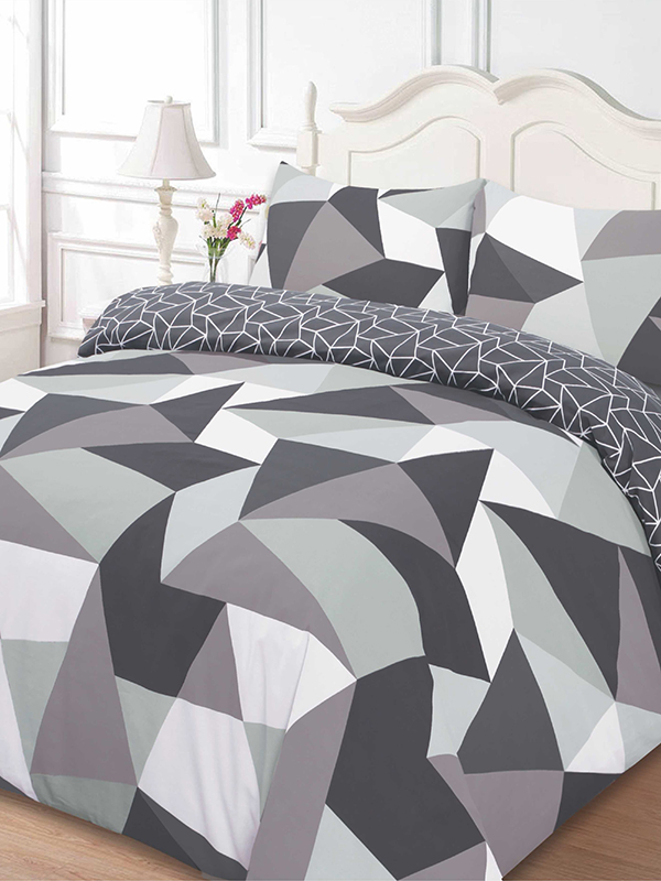 shapes geometric single duvet cover and pillowcase set  black