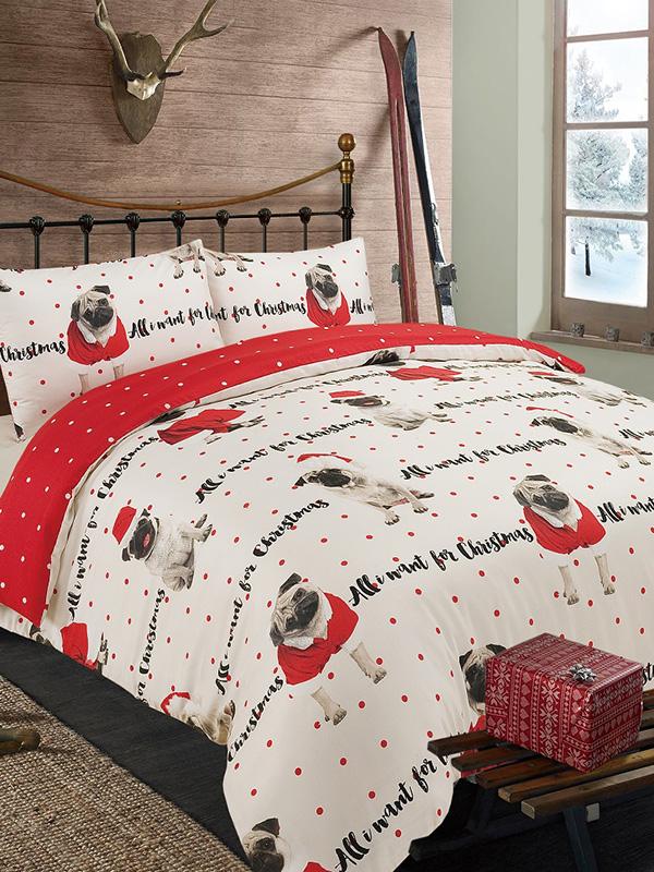 all i want for christmas pug single duvet cover set