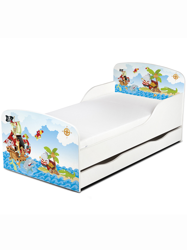 PriceRightHome Pirates Toddler Bed with Underbed Storage with Fully