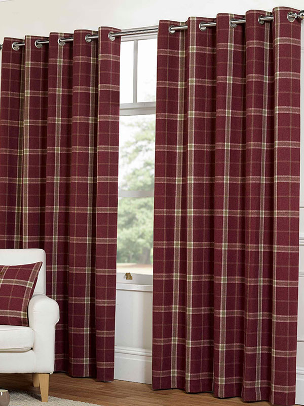 Belle Maison Lined Eyelet Curtains, Plaid Check, 90x90 Raspberry