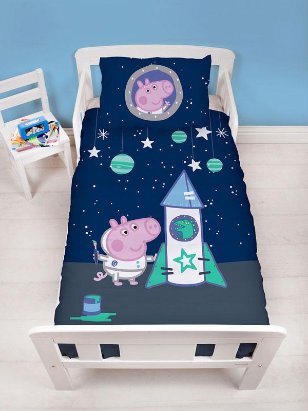 Peppa Pig George Boom 4 in 1 Junior Bedding Bundle (Duvet, Pillow,