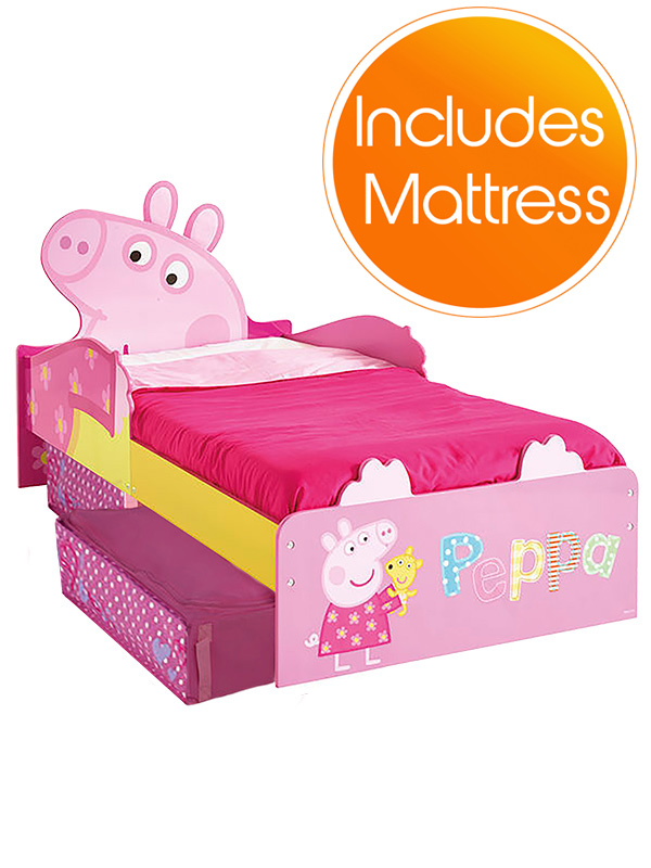 peppa pig toddler bed with storage plus deluxe foam mattress