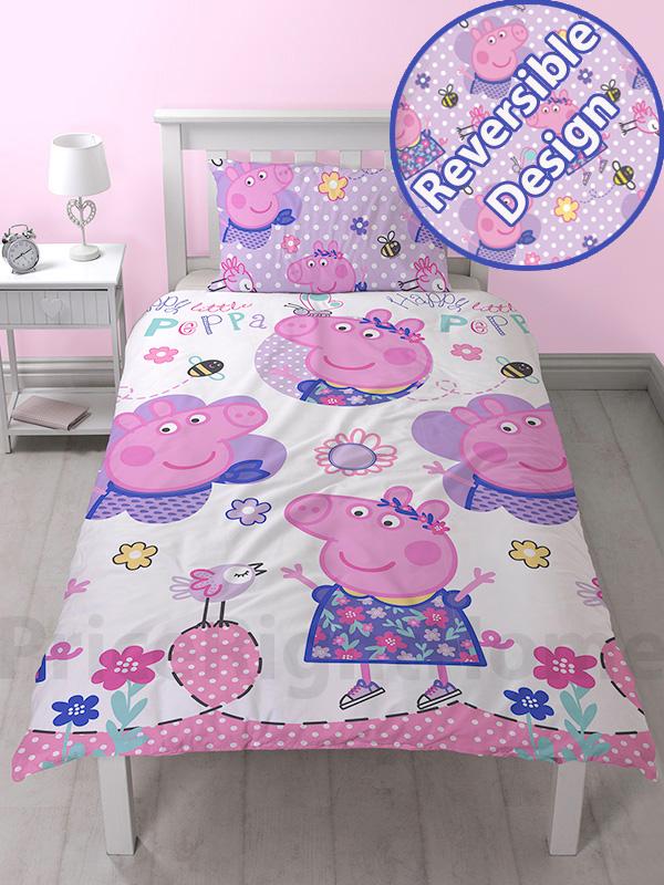 peppa pig happy single duvet cover set  rotary design