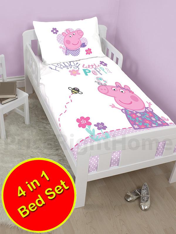 peppa pig happy 4 in 1 junior bedding bundle set (duvet, pillow and
