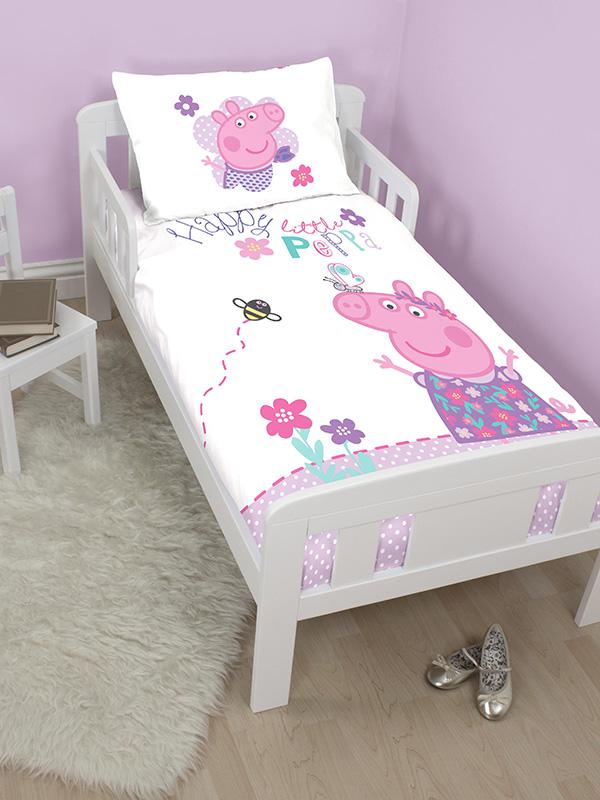 peppa pig happy junior toddler duvet cover and pillowcase set