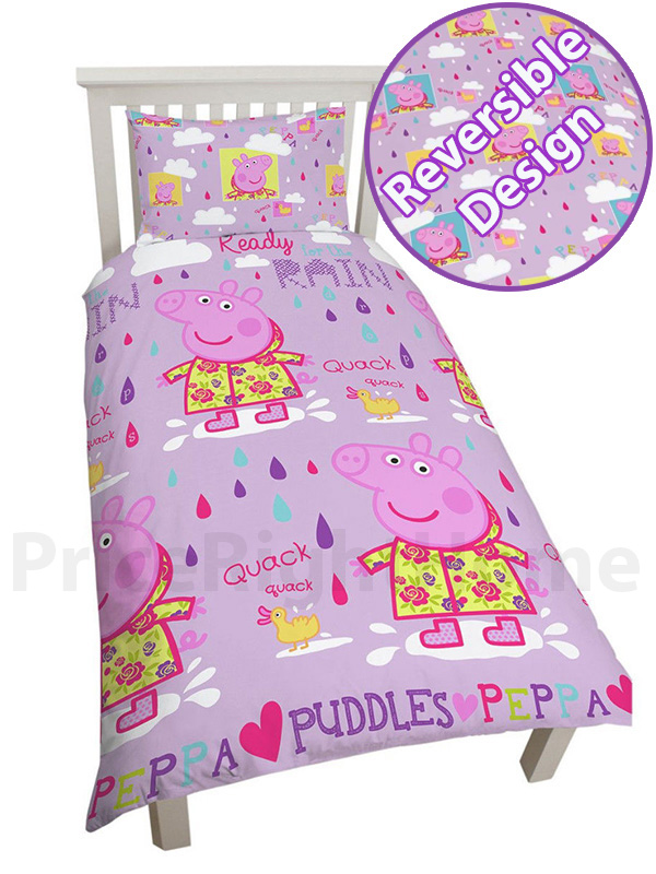 peppa pig puddles single duvet cover and pillowcase set