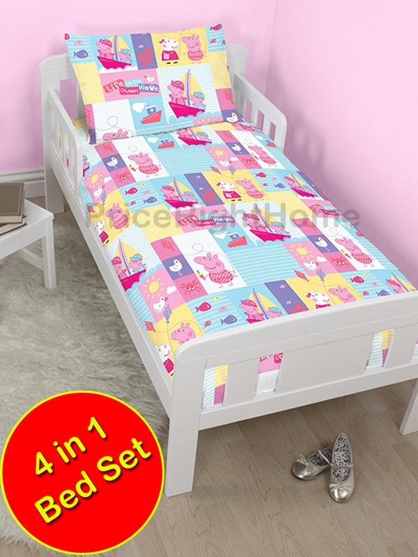 peppa pig nautical 4 in 1 junior rotary bedding bundle set (duvet +