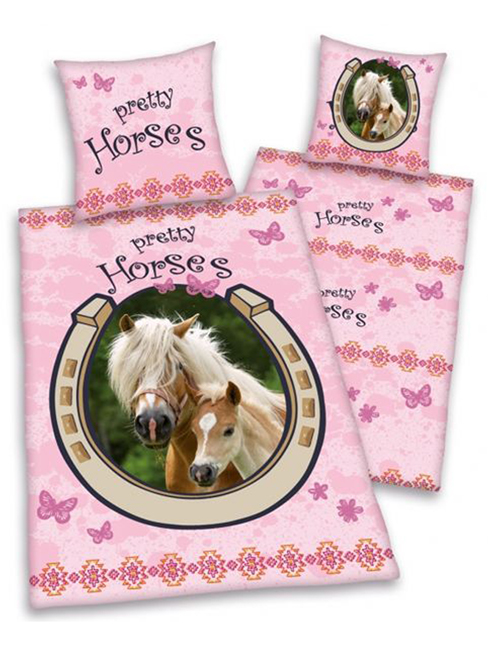 pretty pink horse and foal duvet cover and pillowcase set