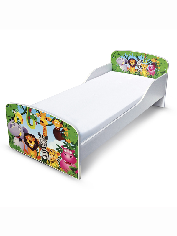 PriceRightHome Jungle Toddler Bed with Fully Sprung Mattress