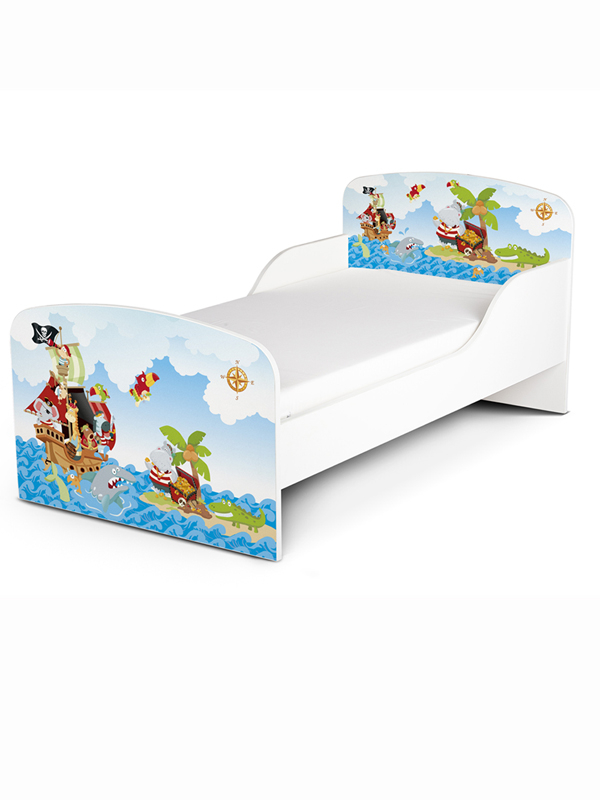 PriceRightHome Pirate Toddler Bed with Fully Sprung Mattress