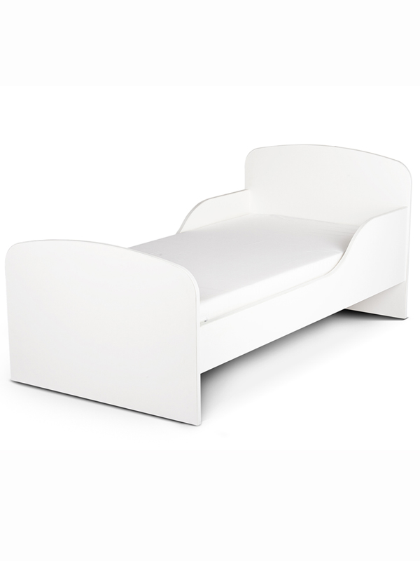 PriceRightHome Plain White Toddler Bed with Fully Sprung Mattress