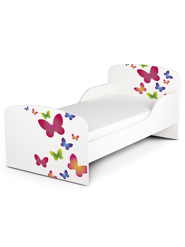 PriceRightHome Butterflies Toddler Bed with Fully Sprung Mattress