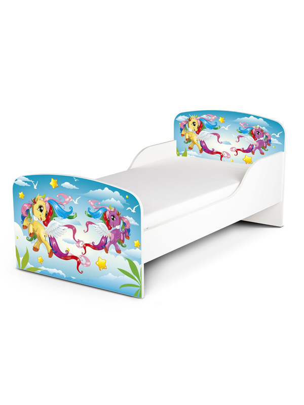PriceRightHome Magical Pony Toddler Bed Plus Fully Sprung Mattress