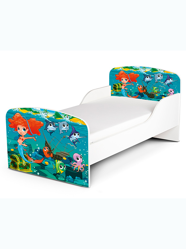 PriceRightHome Mermaid Toddler Bed Plus Fully Sprung Mattress