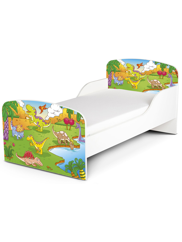 PriceRightHome Dinosaur Toddler Bed plus Fully Sprung Mattress