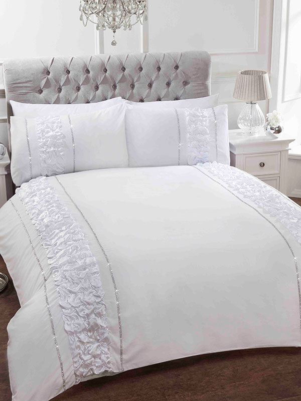 Provence White Super King Duvet Cover and Pillowcase Set