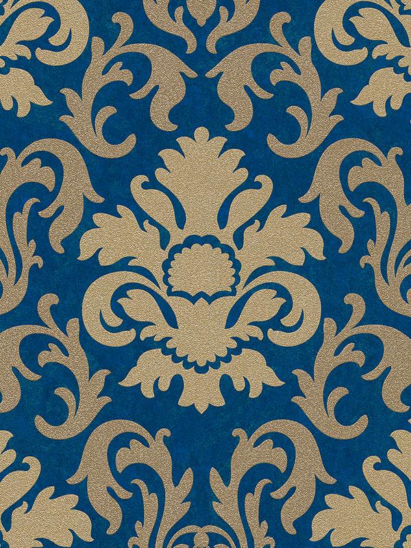 Home & Garden|Wallpaper|Arsenal London Carat Damask Glitter Wallpaper Gold and Blue P+S 13343-60