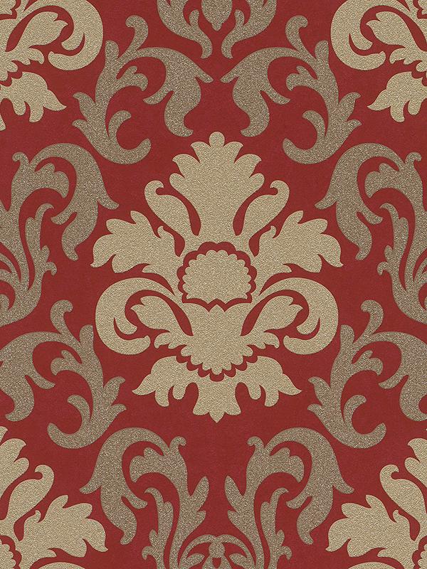 Home & Garden Wallpaper Arsenal London Carat Damask Glitter Wallpaper Gold and Red P+S 13343-80