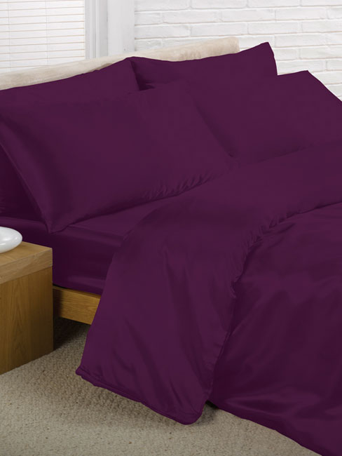 purple satin double duvet cover, fitted sheet and 4 pillowcases