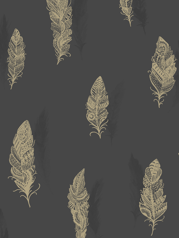 Price Right Home Quill Feather Wallpaper - Charcoal - 11503