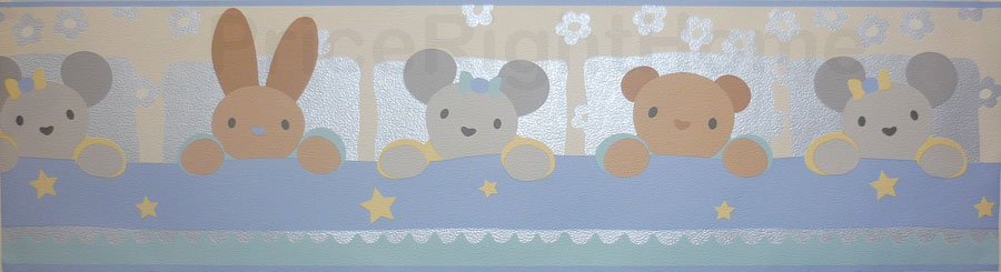 Price Right Home Rabbit and Bear Blue Wallpaper Border 5m