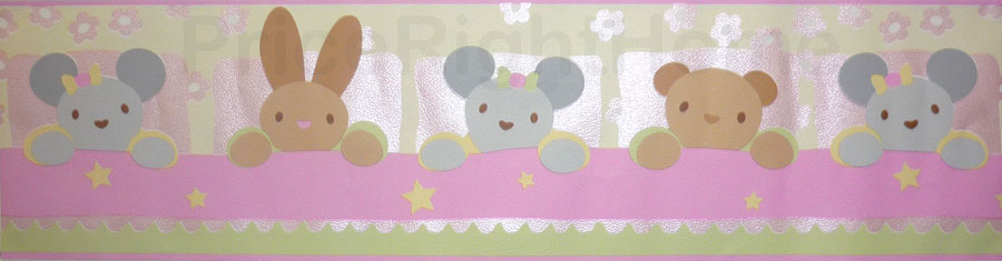 Price Right Home Rabbit and Bear Pink Wallpaper Border 5m