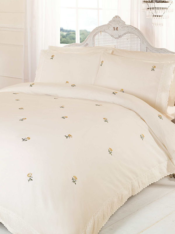 Alicia Floral Cream / Yellow Super King Duvet Cover and Pillowcase Set