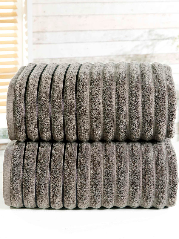 Ribbed 2 Piece Towel Bale Charcoal